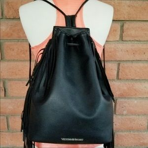 Victoria's Secret Bags - Victoria Secret Black FauxLeather Fringe Backpack